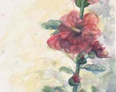 Pink Hollyhock Flower Art - Touch of Summer Hollyhock watercolor fine art giclee 10x21