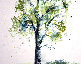 Aspen Tree watercolor Painting - giclee print - lime green springtime - fine art 8x12