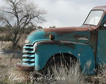 Old Chevy Truck Art - Vintage 1952 Chevy Truck - Antique Aqua Pickup - Turquoise Blue Farm Truck - Fine Art Giclee Photograph 8x12