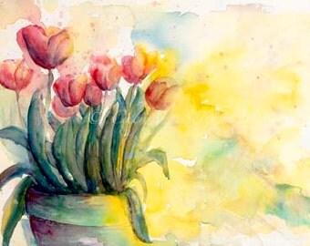 Watercolor Tulips wall art ORIGINAL - Clay garden pot - Fine Art Painting - Home Decor with BONUS