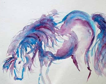 Blue Horse Purple Horse - Cerulean blue pony watercolor Giclee 8x10 print - wall art decor - horse art