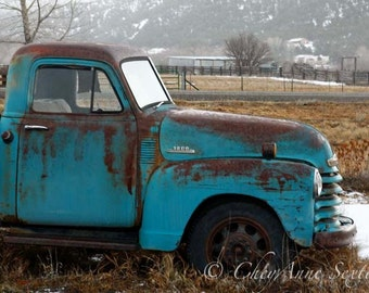 Old 1952 Blue Chevy Winter Truck Art Antique Farm Truck Teal Chevy Vintage Fine Art Home Decor different size Giclee Prints ship Worldwide