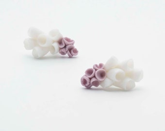Ceramic and sterling silver post earrings with white and purple abstract porcelain flowers La-Rochelle