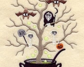 Scary Halloween Birds in a Tree, Embroidered on WHITE Hand or Kitchen Towel or Quilt Block Square