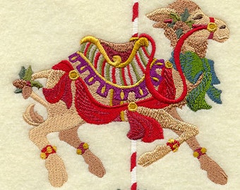 Christmas Carousel Camel Embroidered on WHITE Cotton Towel or Quilt Block Square