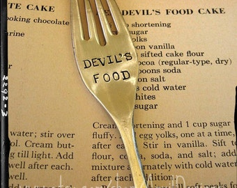 Devil's Food, Vintage Silverware, Fork Marker, Bakery Display, Catering Prop, Hostess Gift, Cake Tag, Hand Stamped, Bakery, Chocolate Lover