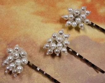 White Bridal Hair Pins, Beaded Hair Accessory, Wedding Veil Alternative, Flower Girl Hair,  Set of 3