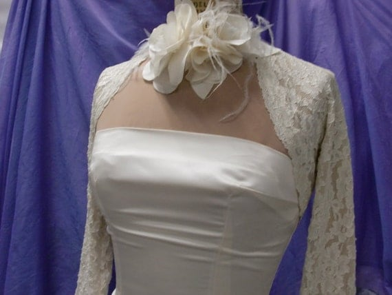BRIDAL SHRUG, Wedding Cover Up, Lace Bolero, Stretch Lace 3/4 sleeves