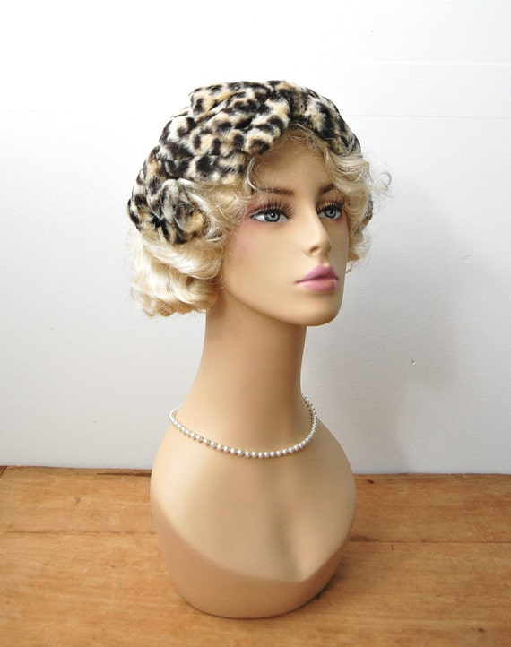 Vintage 1950s Hat - Cheetah Bow Fascinator - The Chloe