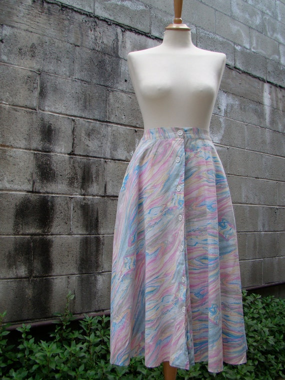 Vintage 60s /  Mad Men / Pin up / Pastel / Water Color / Skirt / SMALL