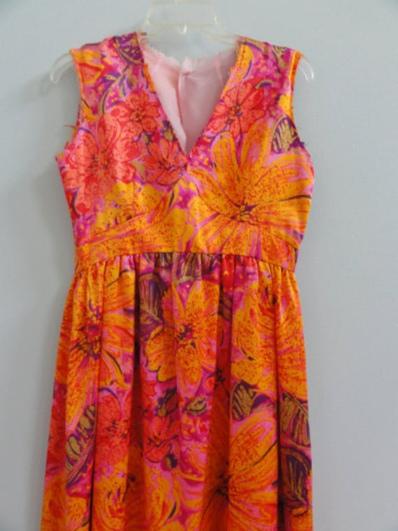 Vintage Unfinished Floral Dress with Raw Seams for Project  60s Era- Maxi Party Evening Prom