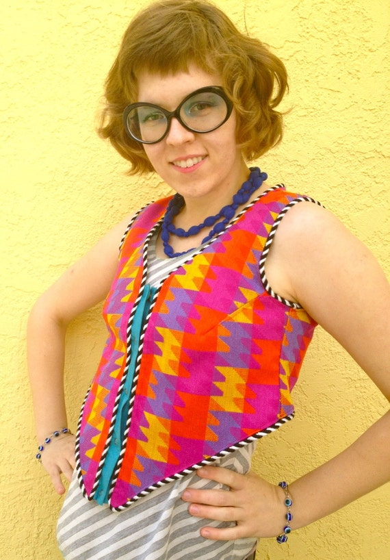 SALE Psychedelic Puzzle reversible vest: perfect for Burning Man, festivals, costumes, and rainbow lovers!