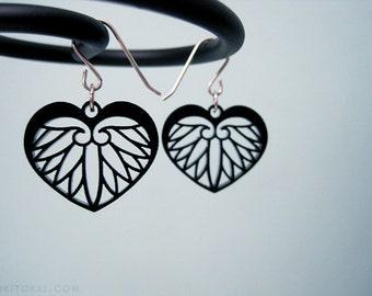 Korean Minimalist Heart Earrings BLACK, Modern Floral Jewelry, Phoenix Wings Ivory, Asian Mythology Jewelry, Princess Gift for Her, Wedding