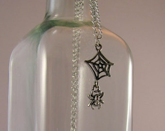 Silver Spider Web Necklace - Silver Sipder Necklace, Arachnid Necklace, Halloween Necklace, Goth, Gothic, Spooky, Scary, Creepy