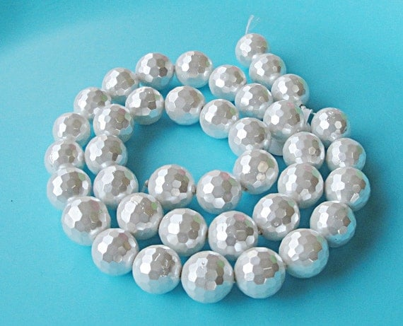 White Cream Micro Faceted Round Shell Pearl Beads/ 8 Inch 10mm/ Bridal Jewelry Project, Beads Only