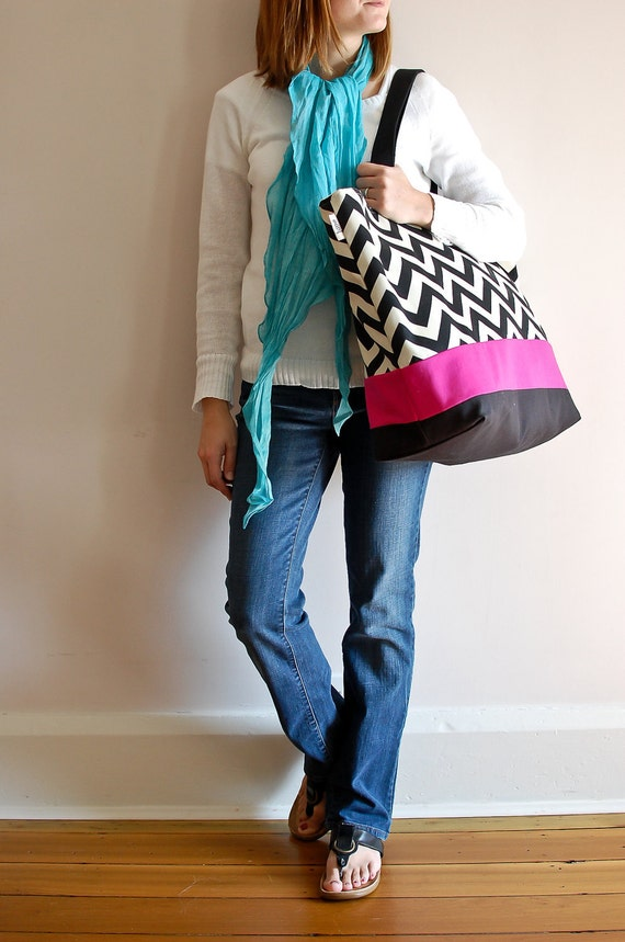 EXTRA Large Beach Bag // Tote in Black Chevron with a pinch of Hot Pink
