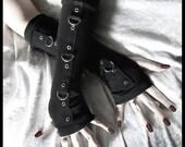 Gothic Unisex Dark Side Bondage Arm Warmers - Black w/ Silver Metal D Rings - Goth Visual Lolita Kuro Fetish Emo Belly Dance Bellydance