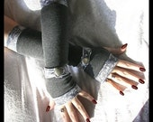 Gwendolyn's Grey Gauntlets Spat Style Arm Warmers | Heather Charcoal Gray | Paisley Wrist Strap & Vintage Silver Button | Lolita Gothic Boho