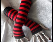 On Candystripe Legs Arm Warmers - Striped Blood Red Black Cotton - Gothic Lolita Punk Vampire Dark Bellydance Emo Yoga Running Unisex Goth