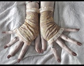 Drifter Fingerless Gloves - Tan Brown Gold Roses Ivory Cream Tea Stained - Victorian Gothic Vampire Regency Edwardian Wedding Bohemian Boho