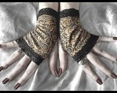 Little Matchstick Girl Fingerless Gloves - Tan Black Paisley Floral - Lace - Victorian Gothic Vampire Regency Dark Tribal Belly Dance Goth