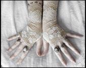 Giselle Lace Fingerless Gloves - Taupe Nude Latte - Ivory Off White Floral - Gothic Vampire Regency Tribal Bellydance Goth Austen Fetish Tea