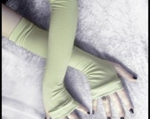 Spring Clover Arm Warmers - Celery Mint Green Bamboo Cotton - Gothic Yoga Belly Dance Dark Tribal Running Cycling Boho Goth Pistachio Light