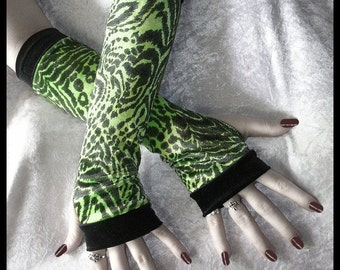 Cyber Acid Jungle Arm Warmers - Neon Lime Green and Black Velvet Animal Print - Cyber Gothic Fetish Punk Rave Belly Dance Dark Fusion Goth