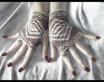 Aztec Rising Fingerless Gloves - Rosy Tan & Cream Aztec - Bohemian Chic Steampunk Belly Dance Earth Mother Hippy Burning Man Bellydance Goth