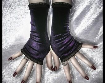 Dark Entries Velvet Fingerless Gloves | Deep Purple - Black Lace Ruffle | Lolita Gothic Victorian Belly Dance Dark Tribal Boho Elegant Goth