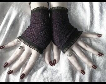 Low Room Lace Fingerless Gloves - Plum Purple Diamond Mesh - Black Ruffle - Gothic Tribal Bellydance Lolita Dark Elegant Victorian Boho Goth