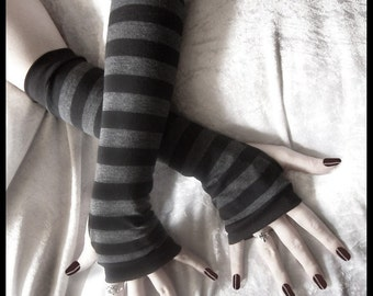 Arm Warmers | Black Dark Charcoal Grey Stripes | Yoga Gloves Cycling Unisex Neutral Bohemian Light Fall Goth Classic | Dusk & Her Embrace