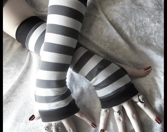 Arsenic Arm Warmers | Light Dove Grey & Dark Charcoal Gray Striped Cotton | Gothic Yoga Gloves Cycling Running Unisex Goth Boho Gypsy Emo