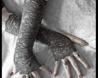 Sinda Lace Arm Warmers | Charcoal Grey | Silver Metallic Floral | Gothic Weddings Elegant Belly Dance Fetish Fishnet Bridal Dark Lolita Goth