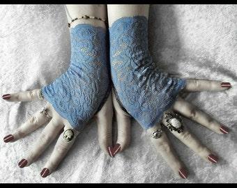 Ailis Lace Fingerless Gloves - Cornflower Alice Blue Floral - Gothic Victorian Vampire Regency Tribal Austen Tea Party Wedding Romantic