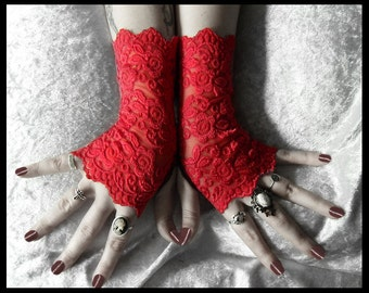 Moira Lace Fingerless Gloves - Bright True Red Embroidered Floral Roses - Gothic Cyber Vampire Regency Tribal Fetish Austen Wedding Romantic