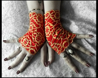 Lasair Lace Fingerless Gloves - Bright True Red Pale Gold Embroidered Floral - Gothic Vampire Wedding Steampunk Burlesque Noir Lolita Goth