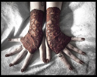 Maguire Lace Fingerless Gloves | Dark Earth Brown Fishnet & Embroidered Floral | Gothic Victorian Regency Tribal Belly Dance Austen Wedding