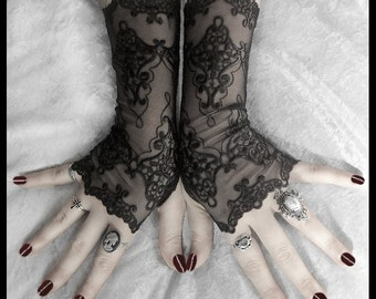 Arianna Long Lace Fingerless Gloves | Black Embroidered Damask | Gothic Vampire Wedding Fetish Dark Tribal Bellydance Burlesque Goth Bridal