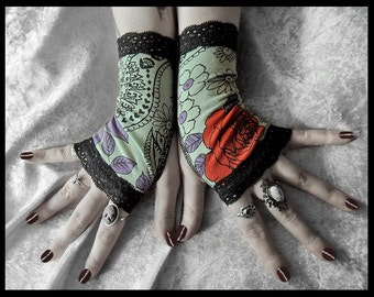 I Never Promised You a Rose Garden Fingerless Gloves - Teal Mint Green Red Purple Paisley Flowers & Black Lace - Steampunk Bohemian Tribal