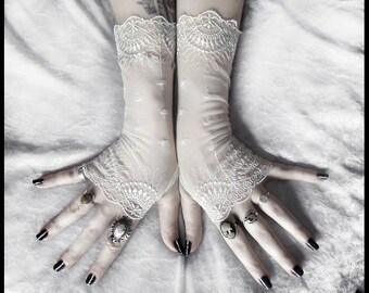 Katriane Long Lace Fingerless Gloves | Pale Ivory Embroidered Damask | Wedding Rustic Bridal Gothic Fetish Tribal Bellydance Burlesque Goth