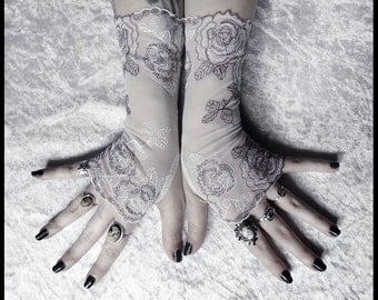Simone Lace Fingerless Gloves | Brown & White Floral Rose Embroidered | Gothic Vampire Regency Tribal Goth Austen Ivory Fetish Tea Bridal
