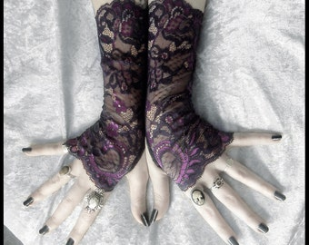 Abelina Long Lace Fingerless Gloves - Plum Purple Violet Floral Fishnet - Gothic Wedding Fetish Dark Tribal Bellydance Eggplant Goth Bridal