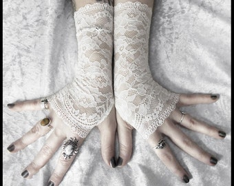 Lace Gloves Fingerless | Off White Pale Ivory Floral | Bridal Woodland Wedding Romantic Austen Arm Warmers Bellydance Gothic Goth | Patience