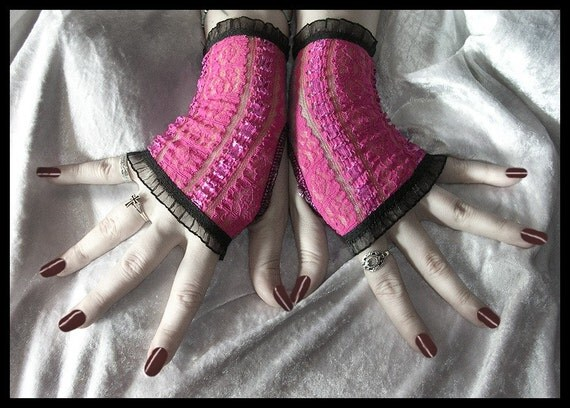 Little Monster Lace Fingerless Gloves - Semi Sheer Hot Pink - Black Ruffle - Gothic Punk Noir Dark Bellydance Vampire Lolita Rave Cyber Goth