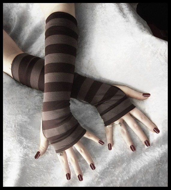Wood Nymph Arm Warmers | Light Heather & Dark Brown Striped | Gothic Steampunk Tribal Chic Bohemian Earth Yoga Cycling Emo Vampire Unisex