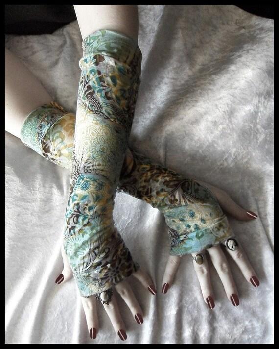Rebirth Arm Warmers | Teal Blue Cream Yellow Ochre Plum Brown Floral Mandalas | Gothic Tribal Namaste Steampunk Noir Mehndi Gypsy Yoga