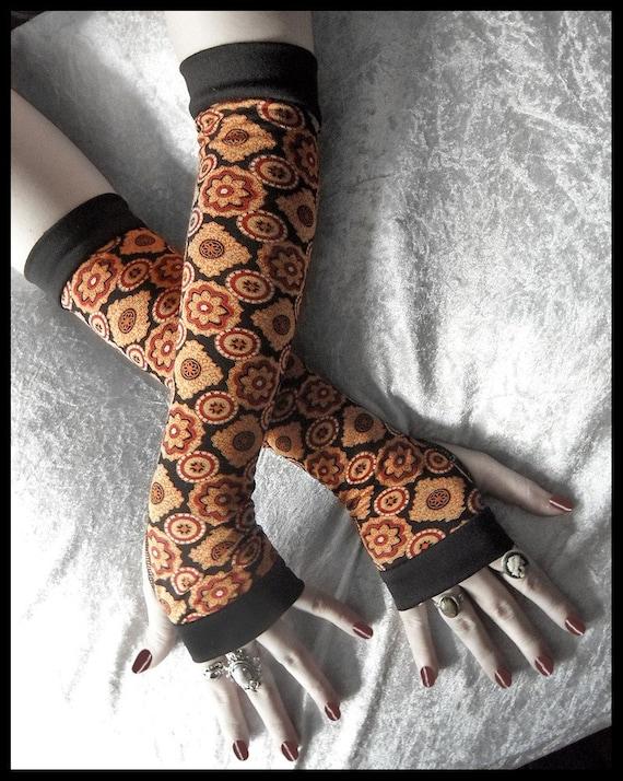Sunset Satori Arm Warmers | Black Rust Red Gold Copper Cream Brown Floral Mandala Cotton | Yoga Gothic Dark Fusion Cycling Boho Earth Goth