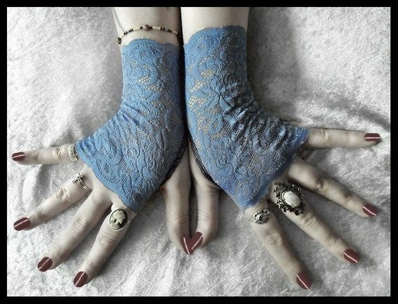 Ailis Lace Fingerless Gloves - Cornflower Alice Blue Floral - Gothic Victorian Vampire Regency Tribal Austen Tea Party Wedding Romantic