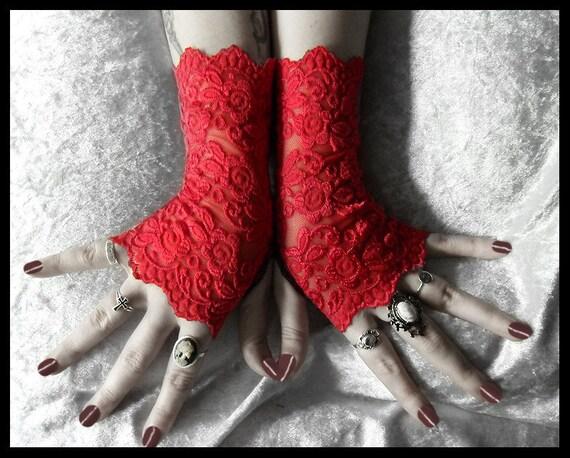Moira Lace Fingerless Gloves - Bright True Red Embroidered Floral Roses - Gothic Cyber Vampire Regency Tribal Fetish Austen Wedding Romantic